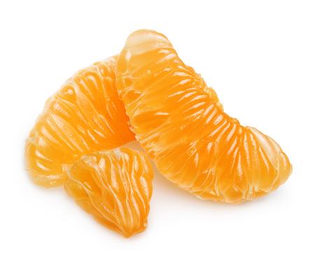 Mandarin orange citrus fruit slice isolated.