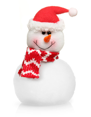 Snowman in Santa Claus xmas red hat isolated on white background. Stock Photo