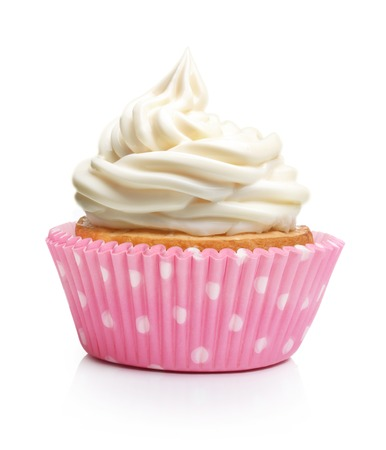 party pastries: Sweet dessert, cupcake with butter cream isolated on white background.