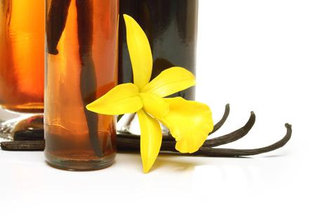 extracto de vainilla, vainas y flores de orquídeas aisladas sobre fondo blanco