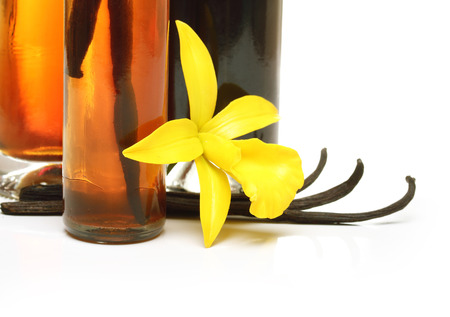 Vanilla extract, pods and orchid flower isolated on white background