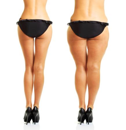 cuerpo perfecto y la grasa de la celulitis mujer aislada en el fondo blanco.