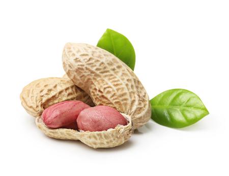 Peanuts isolated on white background Stock Photo