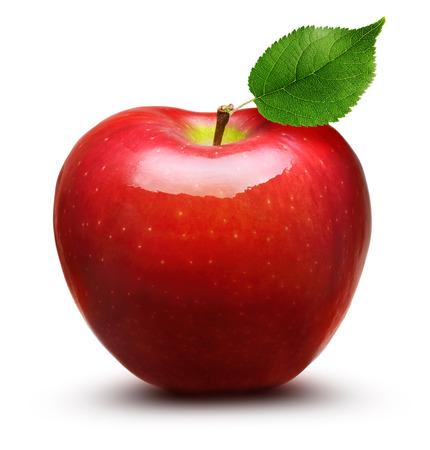 manzana roja: De frutas de manzana Red aisladas sobre fondo blanco Foto de archivo