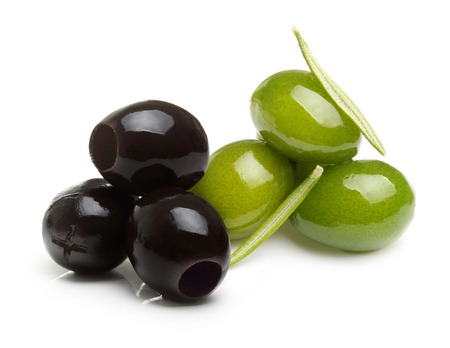 green and black: Green and black olives with leaves isolated on white Stock Photo