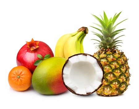 Tropical fruits isolated on white background. Stockfoto