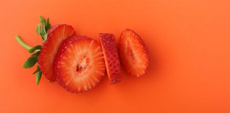 Cut to pieces strawberry
