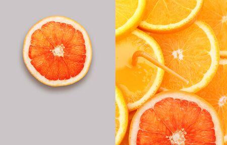 Stack of orange fruit and grapefruit slice