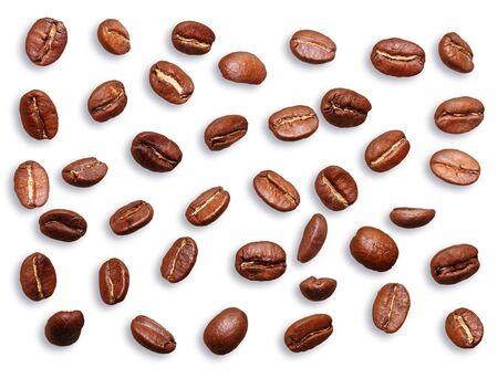 Black coffee grain, bean isolated on white Imagens