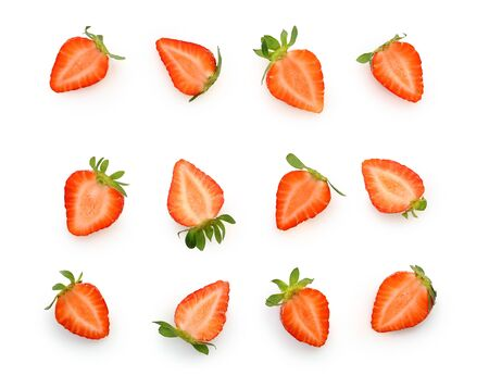 Cut to pieces berry strawberry isolated on white 版權商用圖片