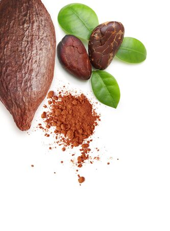 Cacao beans, pod and powder isolated on white 版權商用圖片