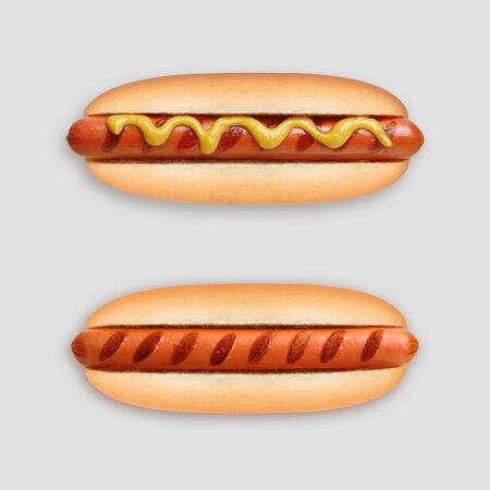 Hot dog grill with mustard on gray Фото со стока