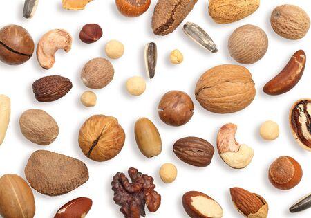 Walnut, cashew, almond, hazelnut and other isolated on white