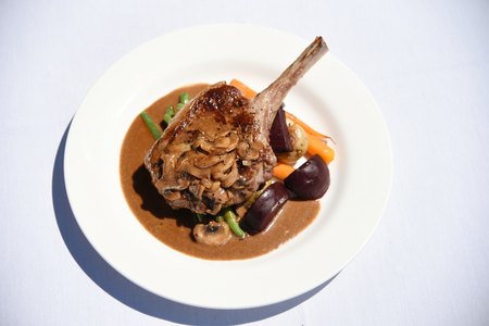 free dish: steak with mushrooms and beetroot Stock Photo