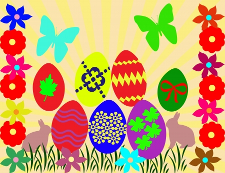 Easter background with eggs, bunnys and flowers