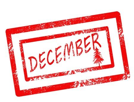 calendar december stamp on white background vector illustration Illustration