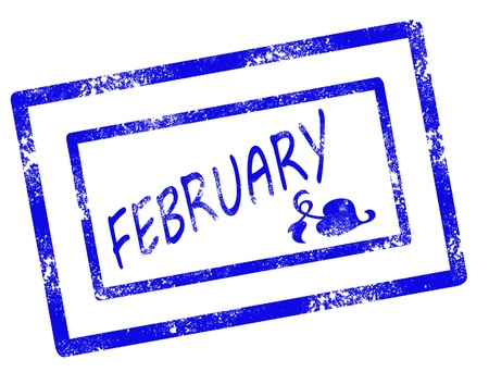 calendar february stamp on withe background vector illustration