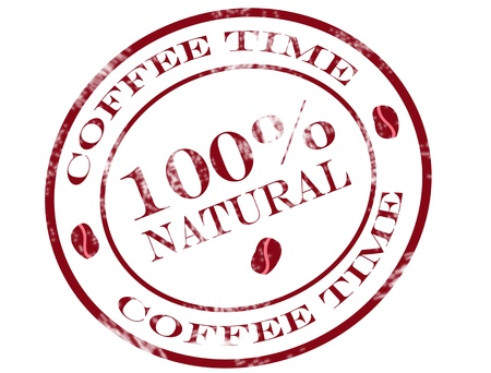 Natural coffee stamp on white background vector ilustration