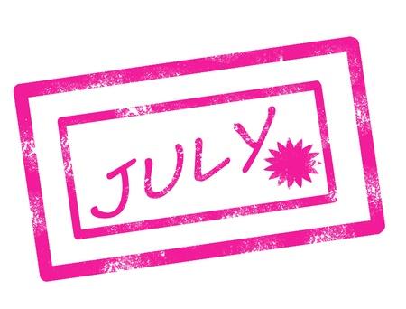 Calendar july stamp on white background vector illustration