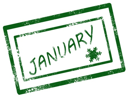 Calendar january stamp on white background vector illustration