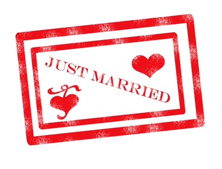 just married  stamp on white background, vector illustration Illustration