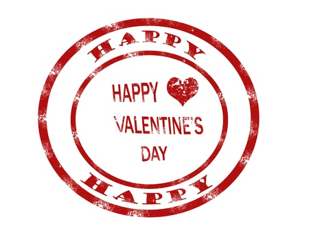 valentine day stamp on white background, vector illustration