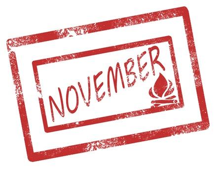 Calendar november stamp on white background vector illustration Illustration