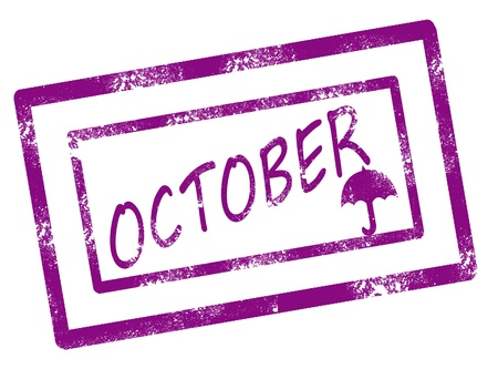 kalender oktober: Agenda oktober stempel op witte achtergrond vactor afbeelding Stock Illustratie