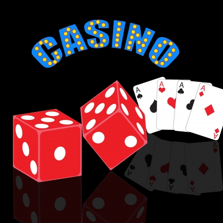 Casino abstract background with playing cards and dices with reflection, vector illustration Illustration