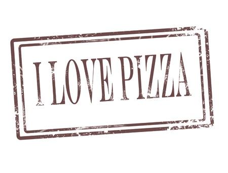 Pizza stamp on white background vector illustration