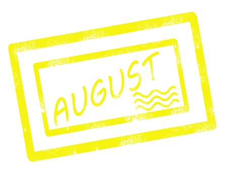 calendar august stamp on white background vector illustration Illustration