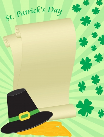 Saint Patrick Day background with blank letter,leprechaun hat, gold coins and shamrock  Illustration
