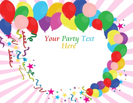 Party background with balloons swirl and space for text, vector illustration