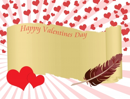 Valentines day background with folded parchment for your text
