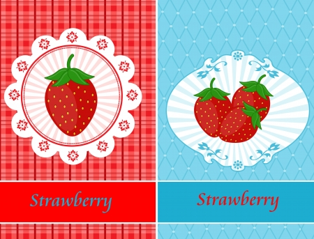 Vintage cards with strawberries, vector illustration