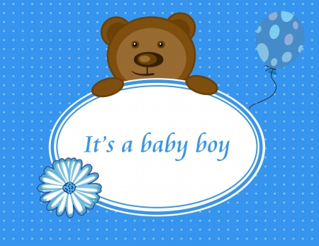 Greeting card with the birth of a baby boy, vector illustration