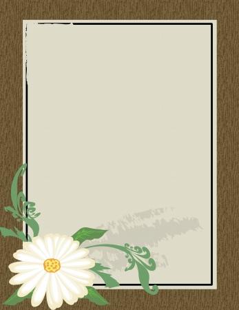 Wooden frame with flower on grunge backround, vector illustration