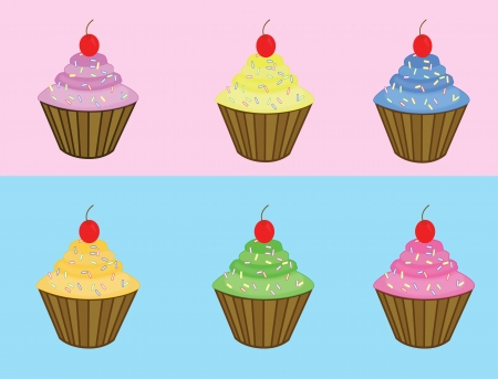 Set of various cupcakes on blue and pink, vector illustration Illustration