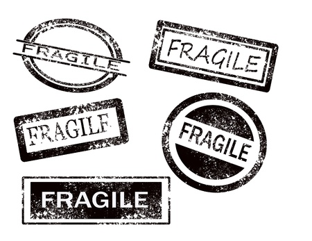 Fragile stamps on white background vector illustration