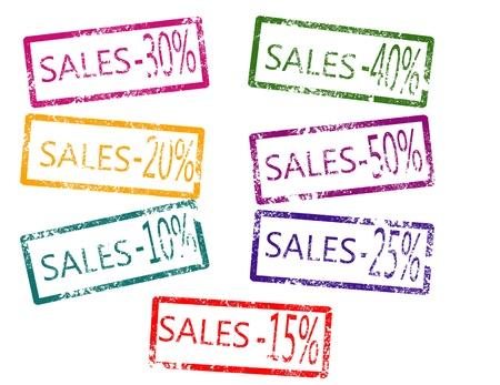 Sales stamp on white background vector illustration