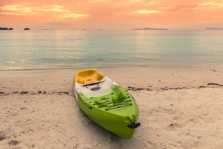 Colorful kayak on the tropical beach of Koh Samui island, Thailand in sunset time