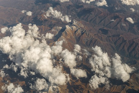 Landscape from above airplane photo mountains tops with snow in Iran Stock fotó