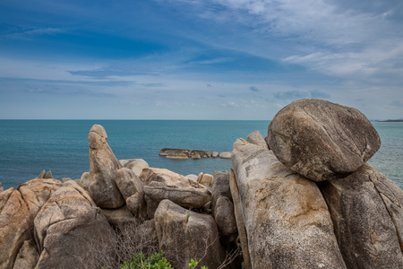 Hin Ta and Hin Yai Rocks and azure sea. A famous place Grandmother and Grandfather in Koh Samui island, Thailand