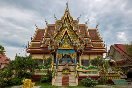 Wat Plai Laem temple at cloudy day in Koh Samui Island, Thailand.