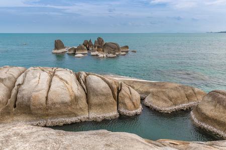 Hin Ta and Hin Yai Rocks and azure sea in Koh Samui island, Thailand
