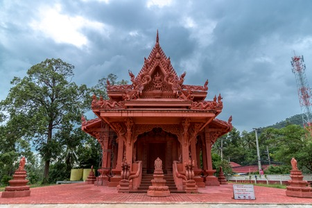 Red temple Wat Ratchathammaram only in Koh Samui, Thailand