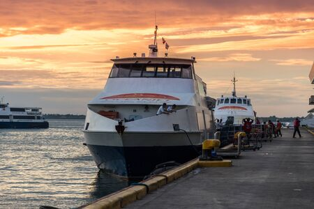 Oceanjet ferry anchorage at ferry passenger terminal at morning time in Cebu City, Philippines. August 2018