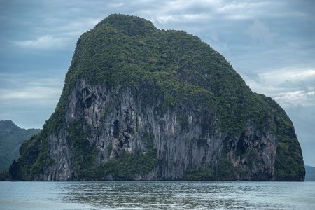 Rock formation mountain in the ocean at El Nido, Palawan, Philippines