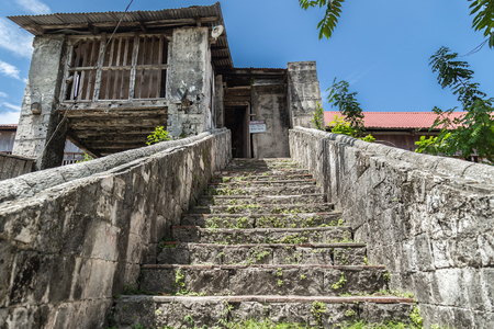 old stone staircase in Baclayon catolic Church in Bohol Island, Philippines. Banco de Imagens