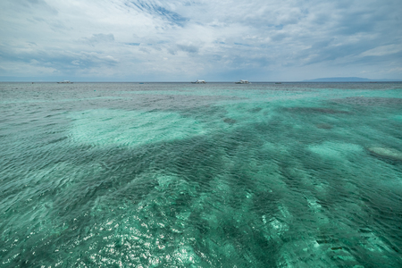 Tropical azure Seaview Dumaluan Beach, Panglao Island in Bohol, Philippines